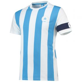 Olympique de Marseille Graphic Stripe Arm Band T-Shirt - Sky/White - Mens