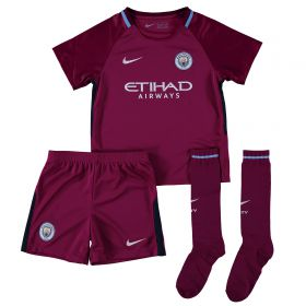 Manchester City Away Stadium Kit 2017-18 - Little Kids with Champions 18 printing