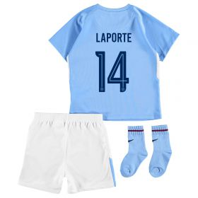 Manchester City Home Stadium Cup Kit 2017-18 - Infants with Laporte 14 printing