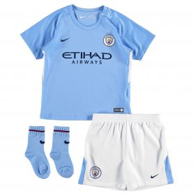 Manchester City Home Stadium Kit 2017-18 - Infants with Laporte 14 printing