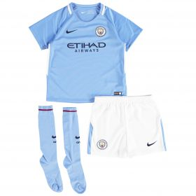 Manchester City Home Stadium Kit 2017-18 - Little Kids with Champions 18 printing