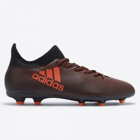 adidas X 17.3 Firm Ground Football Boots - Core Black/Solar Red/Solar Orange - Kids