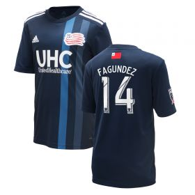 New England Revolution Home Shirt 2018 - Kids with Fagundez 14 printing