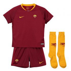 AS Roma Home Stadium Kit 2018-19 - Little Kids with Strootman 6 printing