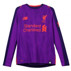 Liverpool Away Shirt 2018-19 - Long Sleeve - Kids with Virgil 4 printing