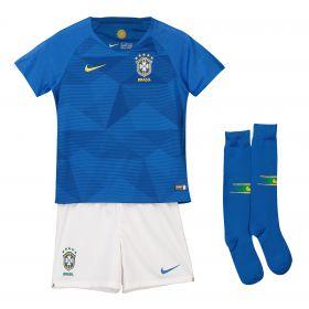 Brazil Away Stadium Kit 2018 - Little Kids with T.Silva 2 printing
