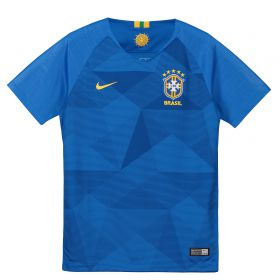 Brazil Away Stadium Shirt 2018 - Kids with Fagner 22 printing
