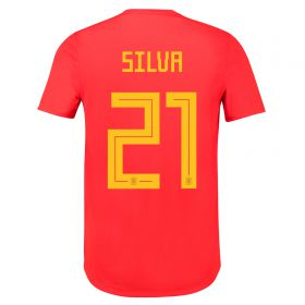 Spain Authentic Home Shirt 2018 with David Silva 21 printing