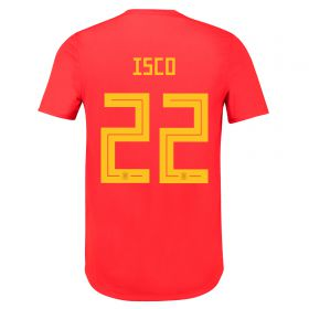 Spain Authentic Home Shirt 2018 with Isco 22 printing