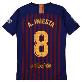 Barcelona Home Vapor Match Shirt 2018-19 - Kids with A. Iniesta 8 printing