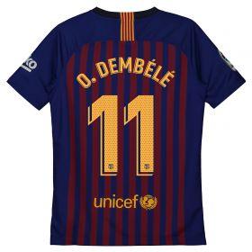 Barcelona Home Vapor Match Shirt 2018-19 - Kids with O. Dembélé 11 printing
