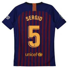 Barcelona Home Vapor Match Shirt 2018-19 - Kids with Sergio 5 printing