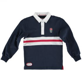 England Classics Stripe Rugby Shirt - Navy - Junior