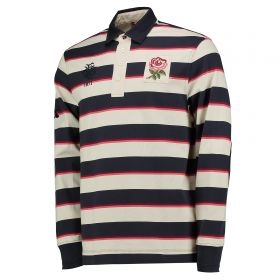 England Rugby Since 1871 Striped Rugby Jersey - Long Sleeve - Bone/Graphite/Rhumba Red
