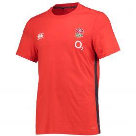 England Rugby Vapodri Cotton Training T-Shirt - Fiery Red