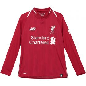 Liverpool Home Shirt 2018-19 - Long Sleeve - Kids with Mané 19 printing