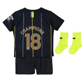 Manchester City Away Stadium Kit 2018-19 - Infants with Champions 18 printing