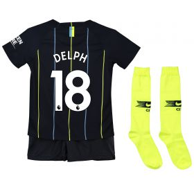 Manchester City Away Stadium Kit 2018-19 - Little Kids with Delph 18 printing