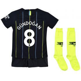 Manchester City Away Stadium Kit 2018-19 - Little Kids with Gündogan 8 printing