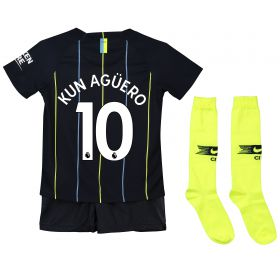 Manchester City Away Stadium Kit 2018-19 - Little Kids with Kun Agüero 10 printing