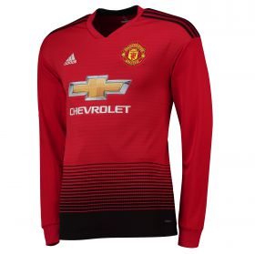 Manchester United Home Shirt 2018-19 - Long Sleeve with Jones 4 printing
