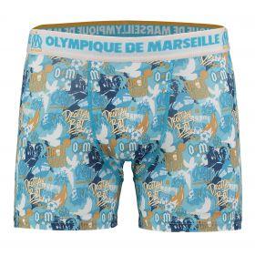 Olympique de Marseille Graffiti Boxer Shorts - Blue - Mens