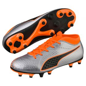 Puma One 4 Synthetic Firm Ground Football Boots - Silver - Kids