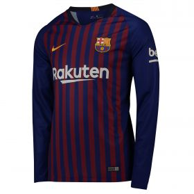 Barcelona Home Stadium Shirt 2018-19 - Long Sleeve with Jordi Alba 18 printing