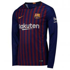 Barcelona Home Stadium Shirt 2018-19 - Long Sleeve with Suárez 9 printing