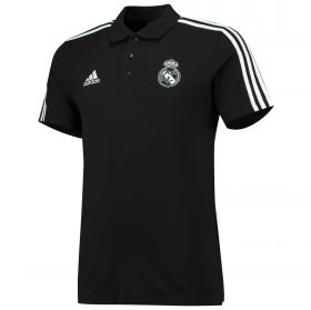 Real Madrid 3 Stripe Polo - Black