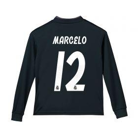 Real Madrid Away Shirt 2018-19 - Long Sleeve - Kids with Marcelo 12 printing