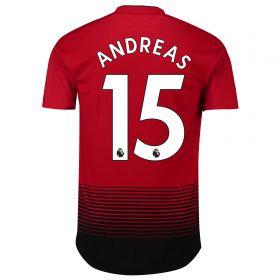 Manchester United Home Authentic Shirt 2018-19 with Andreas 15 printing