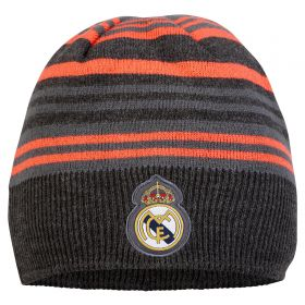 Real Madrid Knitted Striped Hat - Black/Red - Mens
