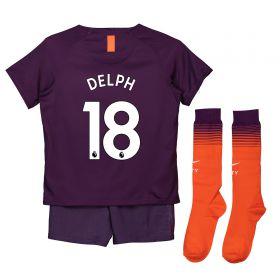 Manchester City Third Stadium Kit 2018-19 - Little Kids with Delph 18 printing