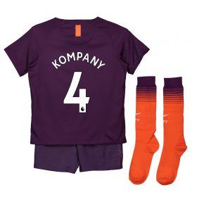 Manchester City Third Stadium Kit 2018-19 - Little Kids with Kompany 4 printing