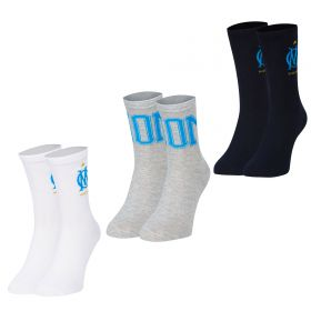 Olympique de Marseille 3PK Sports Socks - Blue/Grey/White - Adult