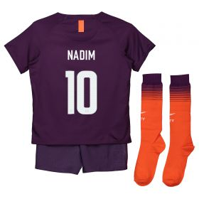 Manchester City Third Cup Stadium Kit 2018-19 - Little Kids with Nadim 10 printing