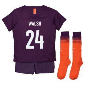 Manchester City Third Cup Stadium Kit 2018-19 - Little Kids with Walsh 24 printing