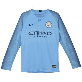 Manchester City Home Stadium Shirt 2018-19 - Long Sleeve - Kids with Champions 18 printing