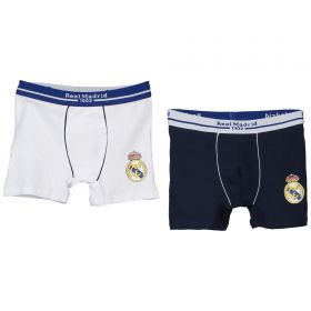 Real Madrid 2Pk Crest Boxer Shorts - Navy/White - Boys