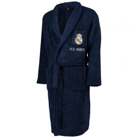 Real Madrid Tie Waist Crest Robe - Navy - Mens