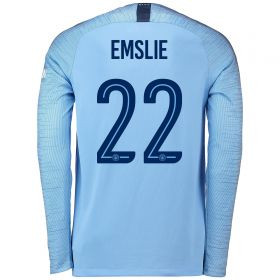 Manchester City Home Cup Stadium Shirt 2018-19 - Long Sleeve with Emslie 22 printing