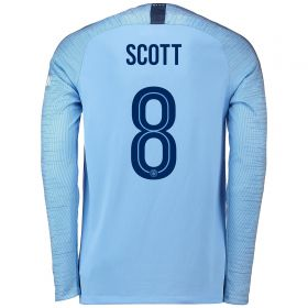 Manchester City Home Cup Stadium Shirt 2018-19 - Long Sleeve with Scott 8 printing