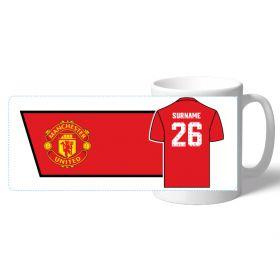 Manchester United Personalised Shirt Number Coaster and Mug Set