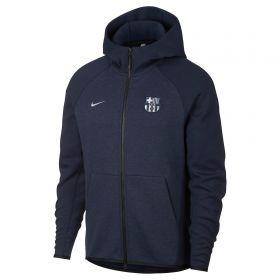 Barcelona Authentic Tech Fleece Full Zip Hoodie - Dark Blue