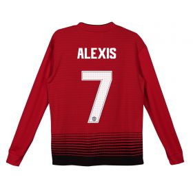 Manchester United Home Cup Shirt 2018-19 - Kids - Long Sleeve with Alexis 7 printing