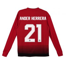 Manchester United Home Cup Shirt 2018-19 - Kids - Long Sleeve with Ander Herrera 21 printing