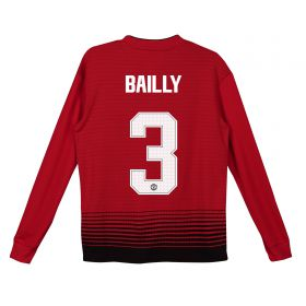 Manchester United Home Cup Shirt 2018-19 - Kids - Long Sleeve with Bailly 3 printing