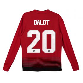 Manchester United Home Cup Shirt 2018-19 - Kids - Long Sleeve with Dalot 20 printing