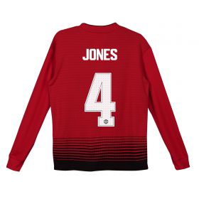 Manchester United Home Cup Shirt 2018-19 - Kids - Long Sleeve with Jones 4 printing